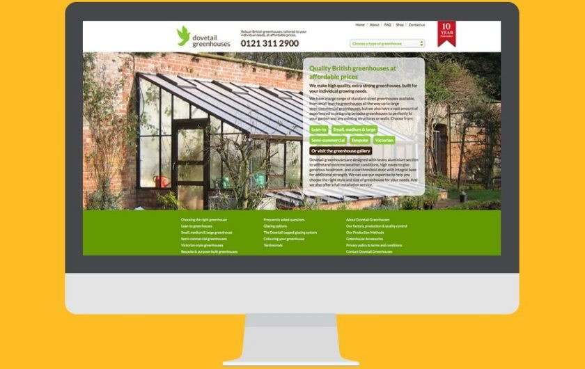 New responsive website design for Dovetail Greenhouses